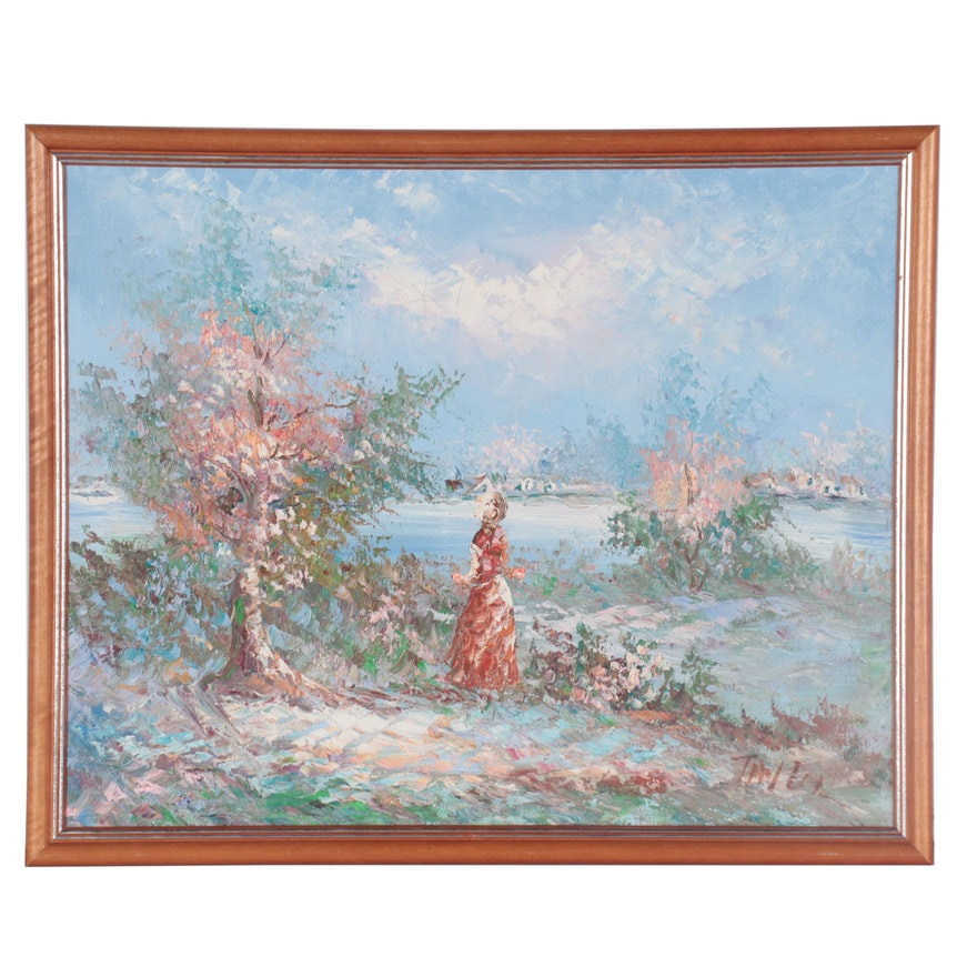 Impressionist Style Oil Painting, Late 20th Century