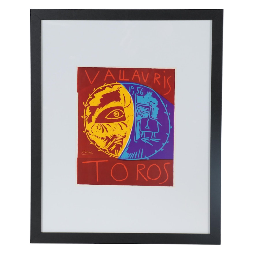 """Offset Lithograph after Pablo Picasso """"Villauris 1956 Toros,"""" Late 20th Century"""