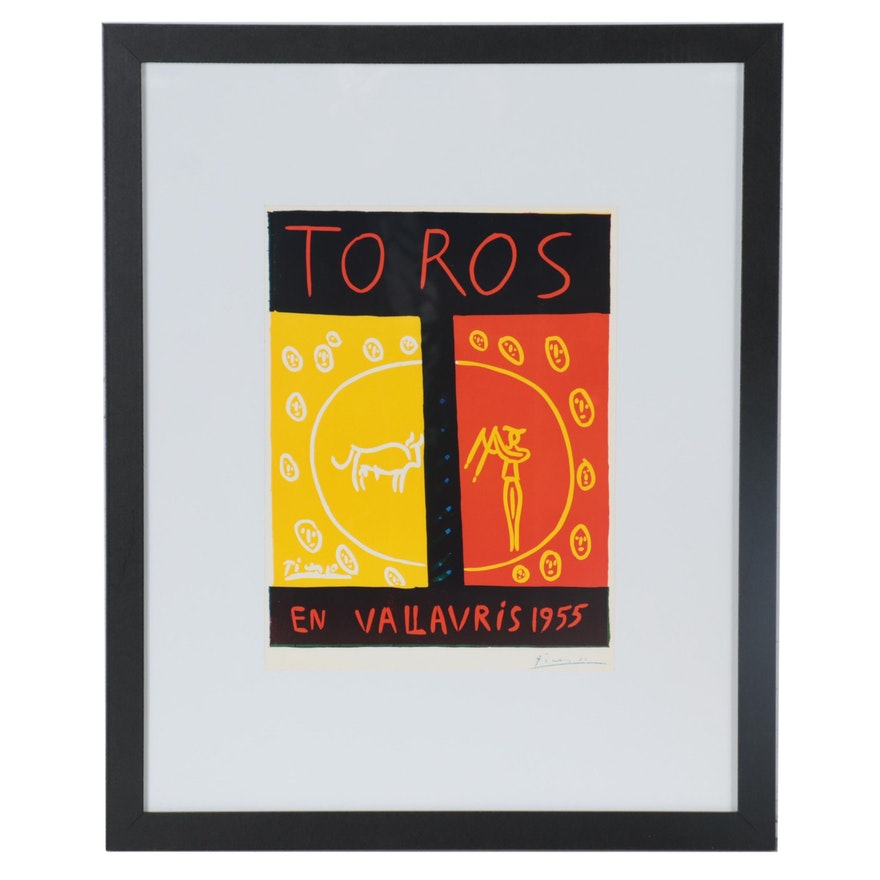 """Poster Print after Pablo Picasso """"Toros En Vallauris 1955,"""" Late 20th Century"""