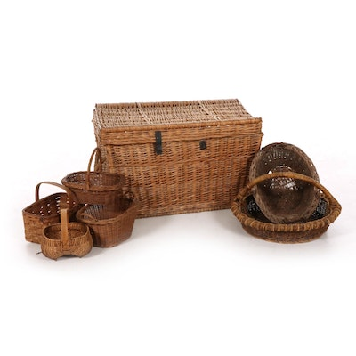Wicker Trunk and Other Gathering Baskets, 20th Century