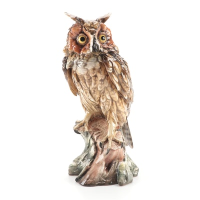 Giuseppe Tagliariol Hand-Painted Porcelain Owl Figurine, Mid/Late 20th Century