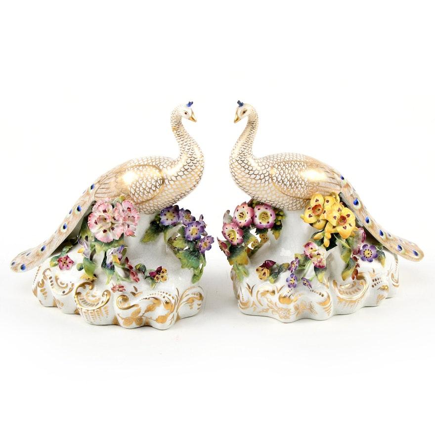 English Porcelain Gilt Peacock Figurines, 20th Century