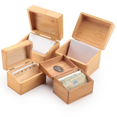 Wooden Storage Boxes with Note Paper and Filing Tabs