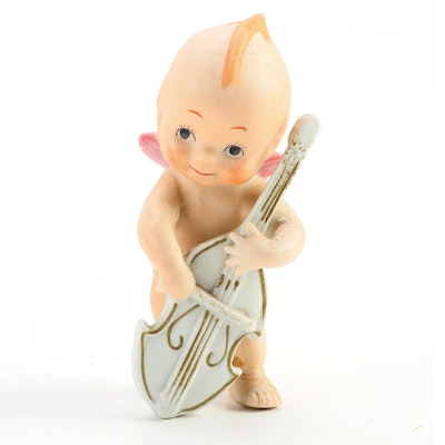 Bisque Kewpie Doll Playing the Cello, Late 20th Century