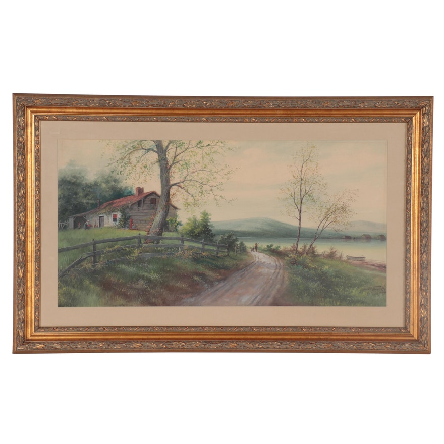 B. Frank Holl Country Landscape Watercolor Painting