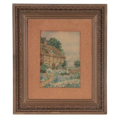 L. Osborn Watercolor Painting of a Cottage, Early 20th Century