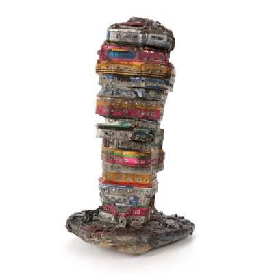 Ryder Henry Recycled Skyscraper Found Object Mixed Media Assemblage