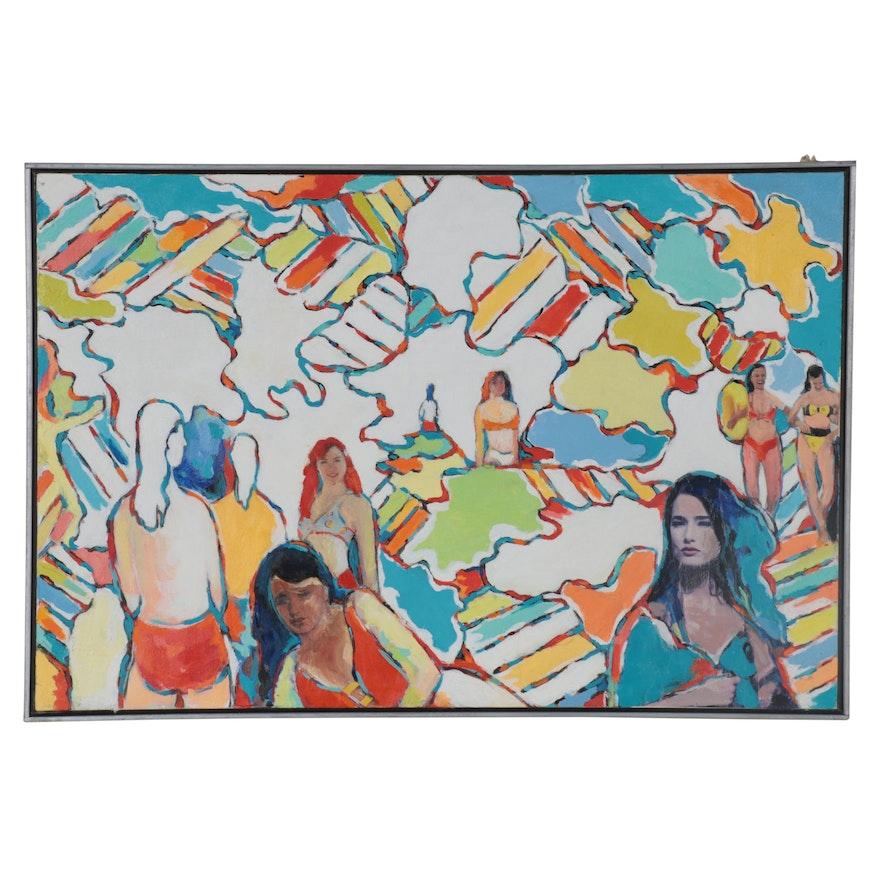 "James Yoko Mixed Media Painting ""Bathers,"" 1990"