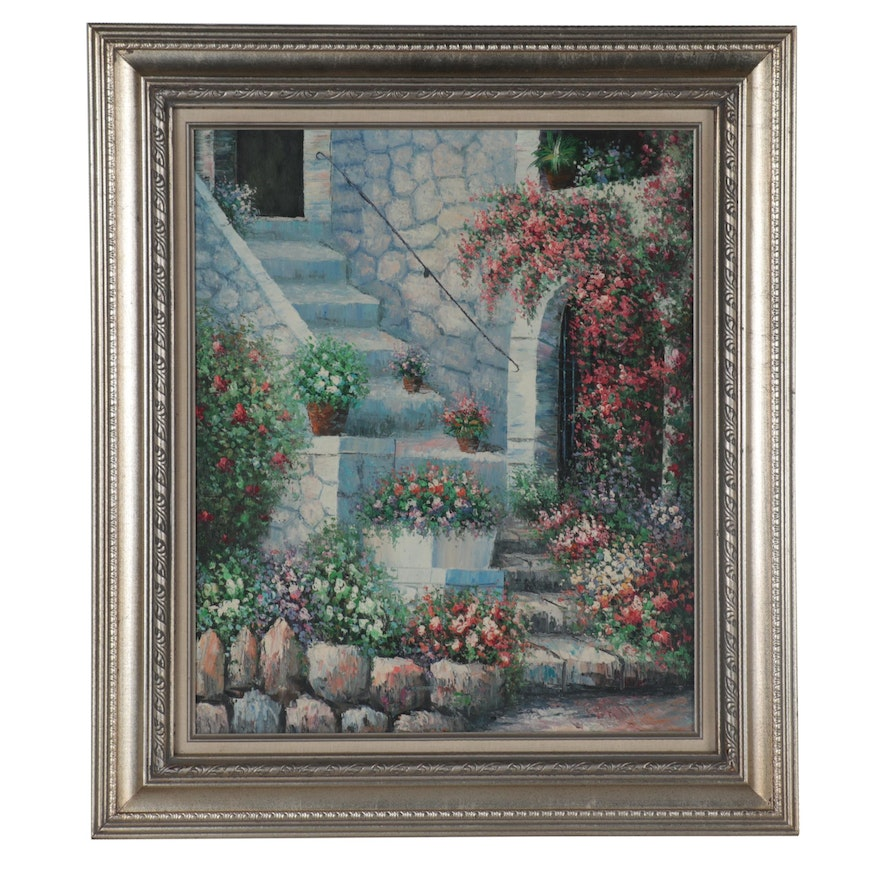 Oil Painting of Courtyard, Late 20th Century