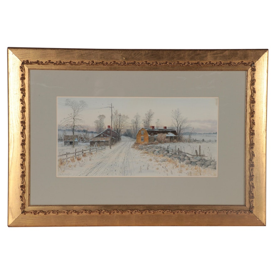 Samuel Chaffee Landscape Watercolor Painting, Late 19th Century