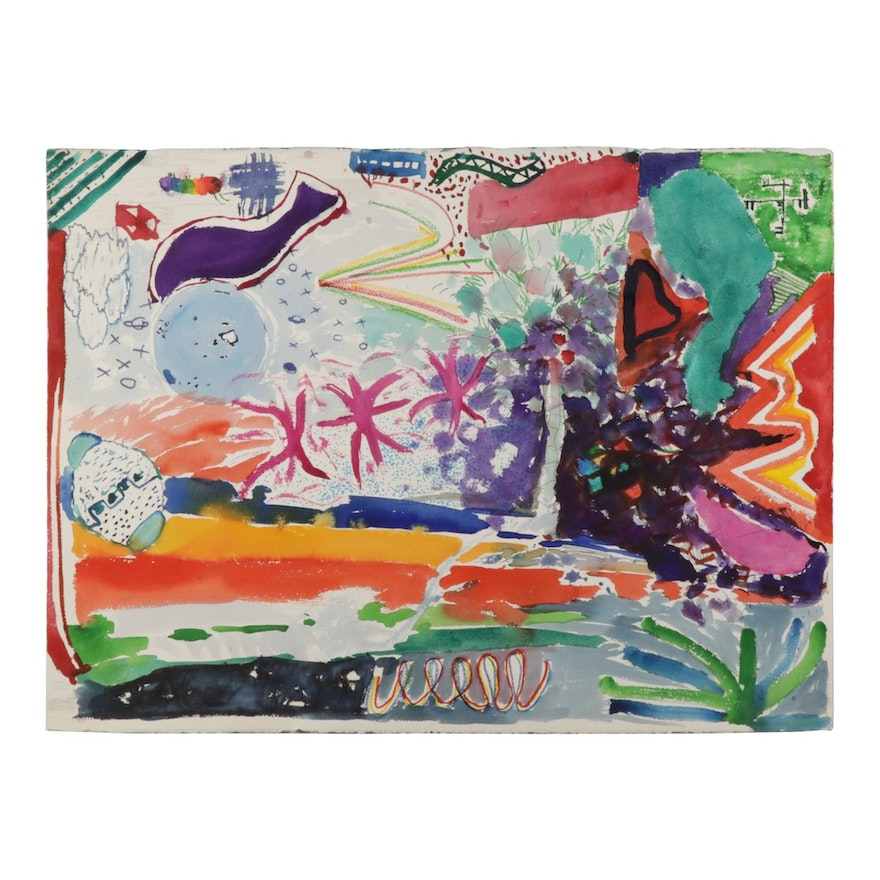 Philip the Transplant Abstract Landscape Mixed Media Painting, 1990