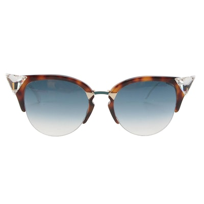 Fendi Iridia Sunglasses in Tortoise/Teal Frame with Case