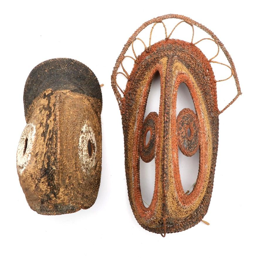 New Guinea Polychrome Fiber Yam Masks, Mid-20th Century