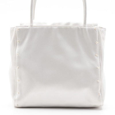 Prada White Satin Bag with French Knot Embroidery