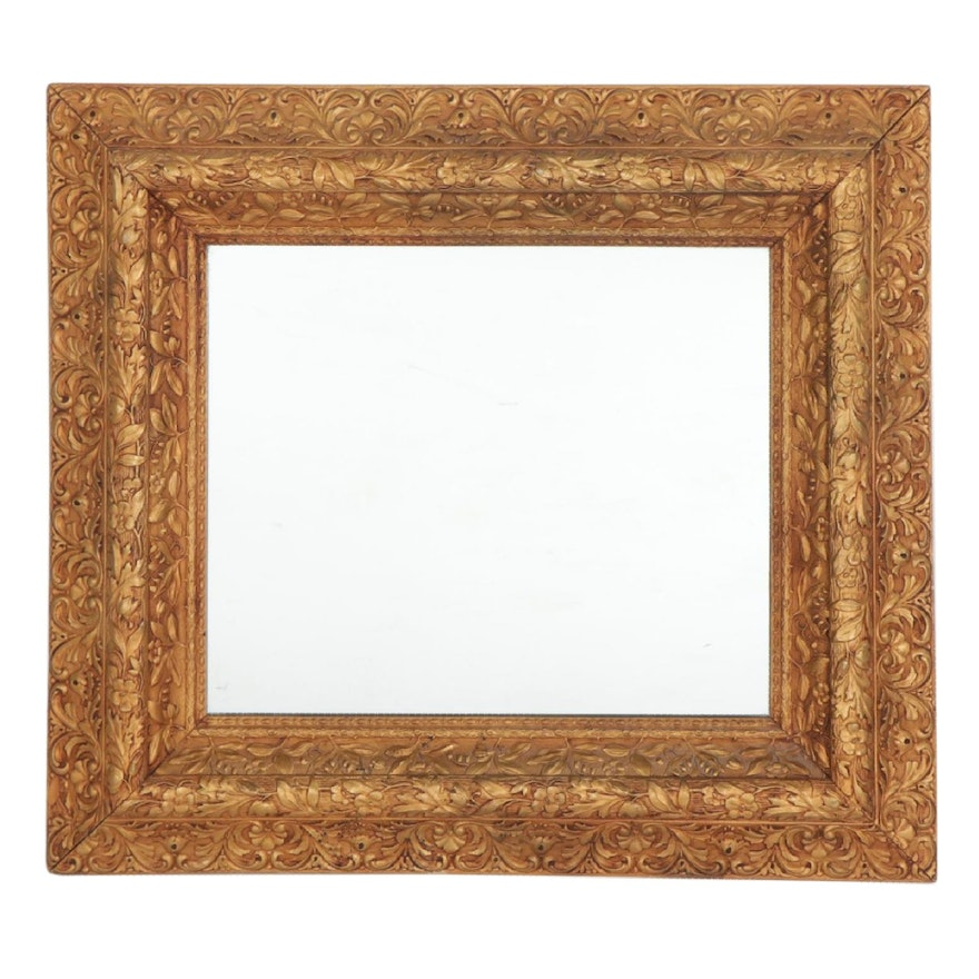 Rectangular Giltwood Foliate Wall Mirror, Early to Mid 20th Century