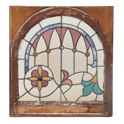 Arch with Flowers Leaded Stained Glass Window Panel