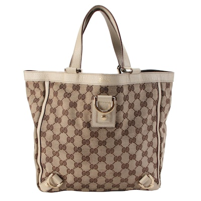 Gucci Abbey D-Ring Tote in GG Canvas with Leather Trim