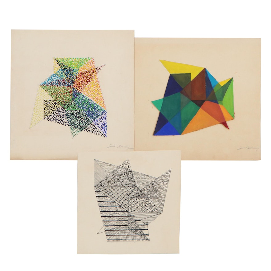 Abstract Mixed Media Drawings, Late 20th Century