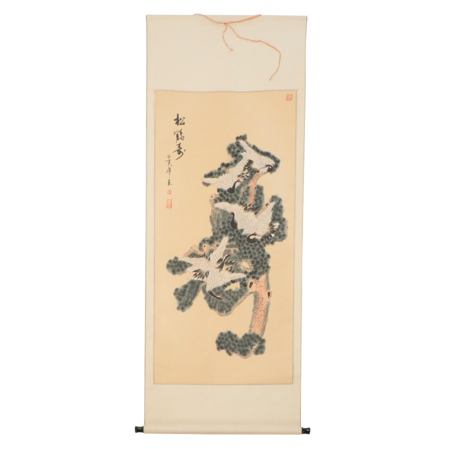 Chinese Gouache Painting on Hanging Scroll of Cranes