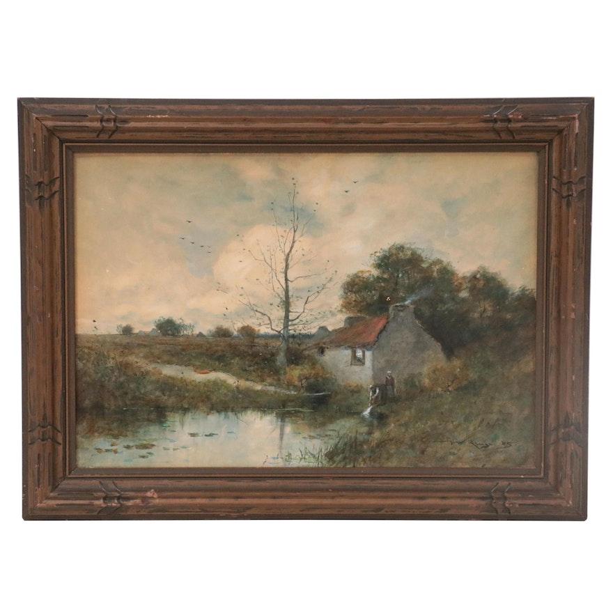 Henry Ward Ranger Rural Landscape Watercolor Painting, 1885