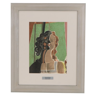 "George Braque Color Lithograph ""Figure"" for ""Verve,"" 1939"