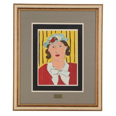 """Henri Matisse Color Lithograph """"Femme au chapeau"""" from """"Verve,"""" 1939"""