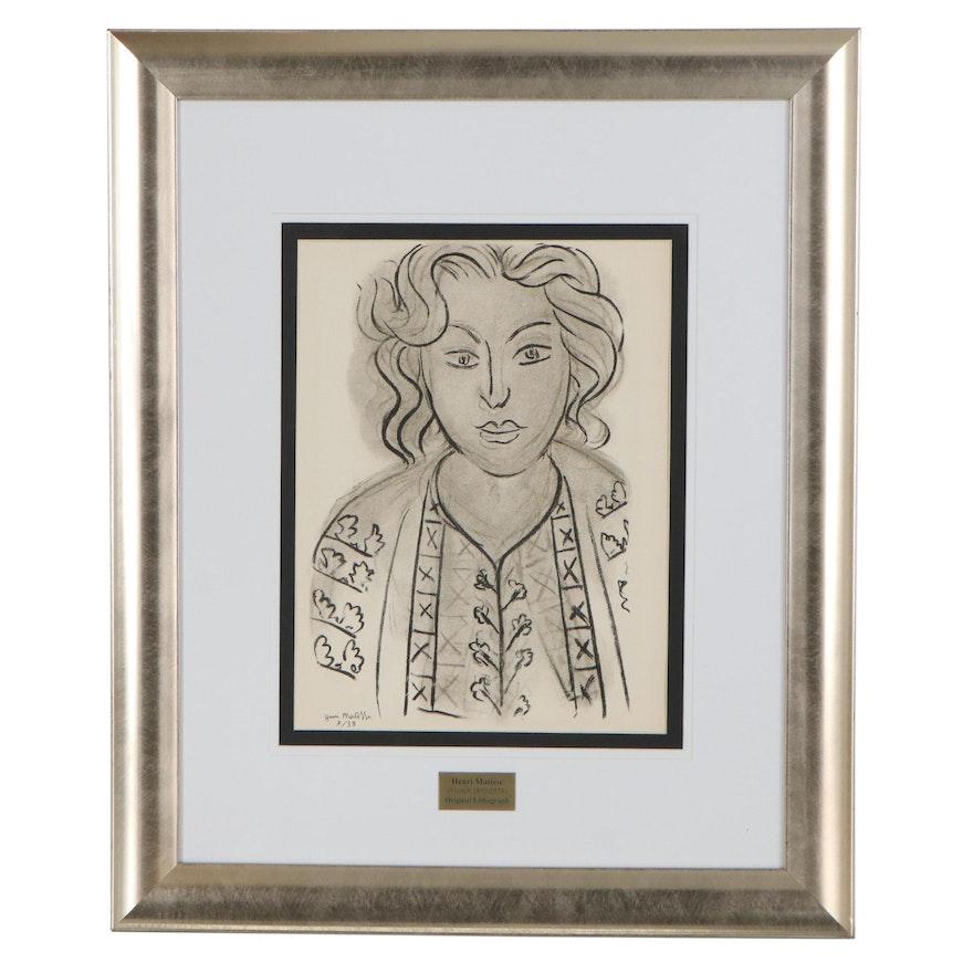 """Henri Matisse Lithograph """"Portrait de Femme"""" from """"Verve,"""" 1939"""