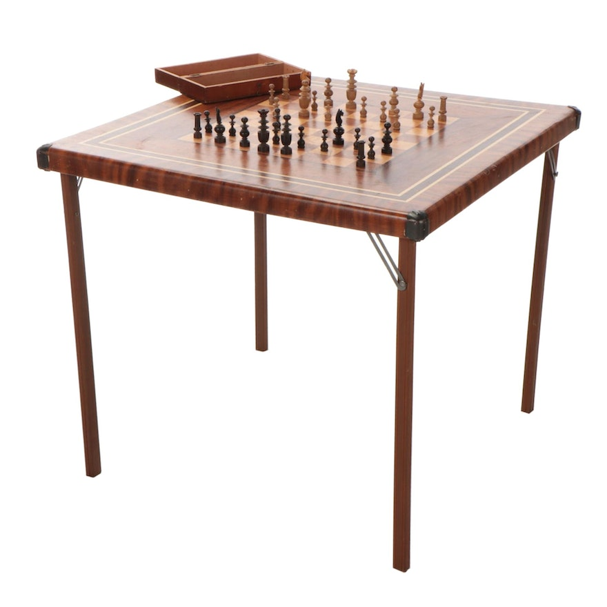 Folding Chess Games Table with Carved Wood Chess Pieces, Mid-20th C
