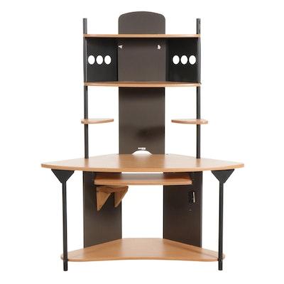 M&M Industries Corner Desk in Laminate and Metal
