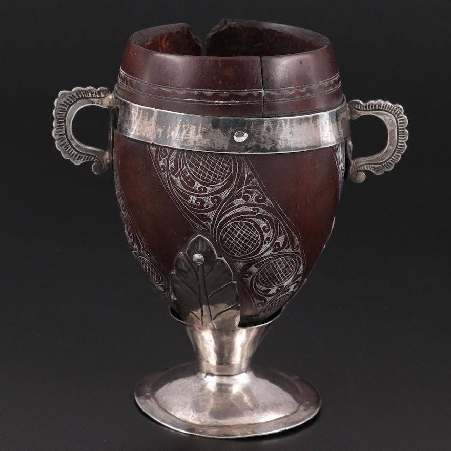 """Central American Silver-Mounted """"Coco Chocolatero"""" Carved Coconut Cup"""