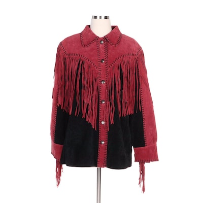 Bob Mackie Wearable Art Rose Red and Black Suede Fringed Jacket