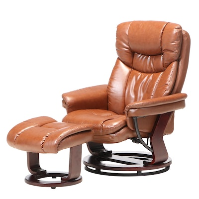 Belnick Inc. Faux-Leather Swivel Recliner and Ottoman
