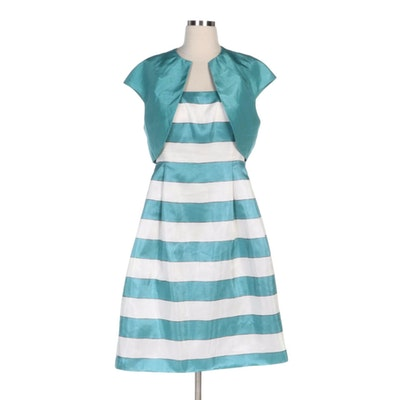 Jessica Howard Sleeveless Striped Dress with Coordinating Shrug