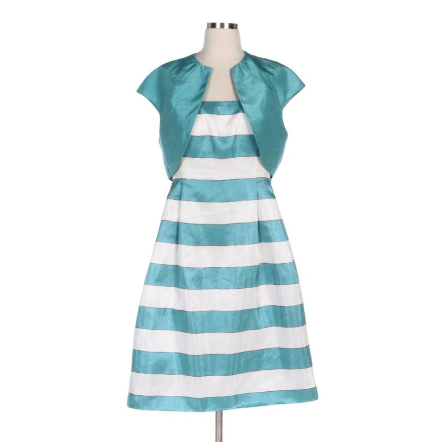 Jessica Howard Sleeveless Striped Dress with Coordinating Shrug