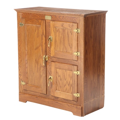 Belwood Ice Boks Co. Oak and Laminate Three-Door Cabinet, Late 20th Century