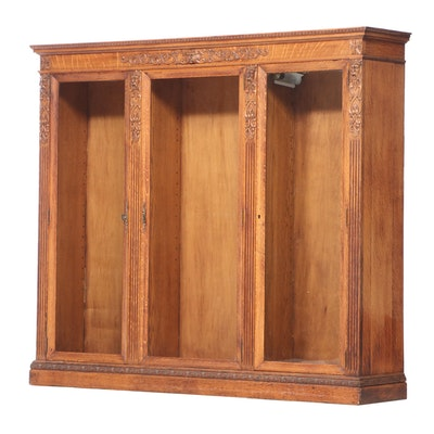 American Renaissance Revival Quartersawn Oak Triple-Door Bookcase, circa 1900