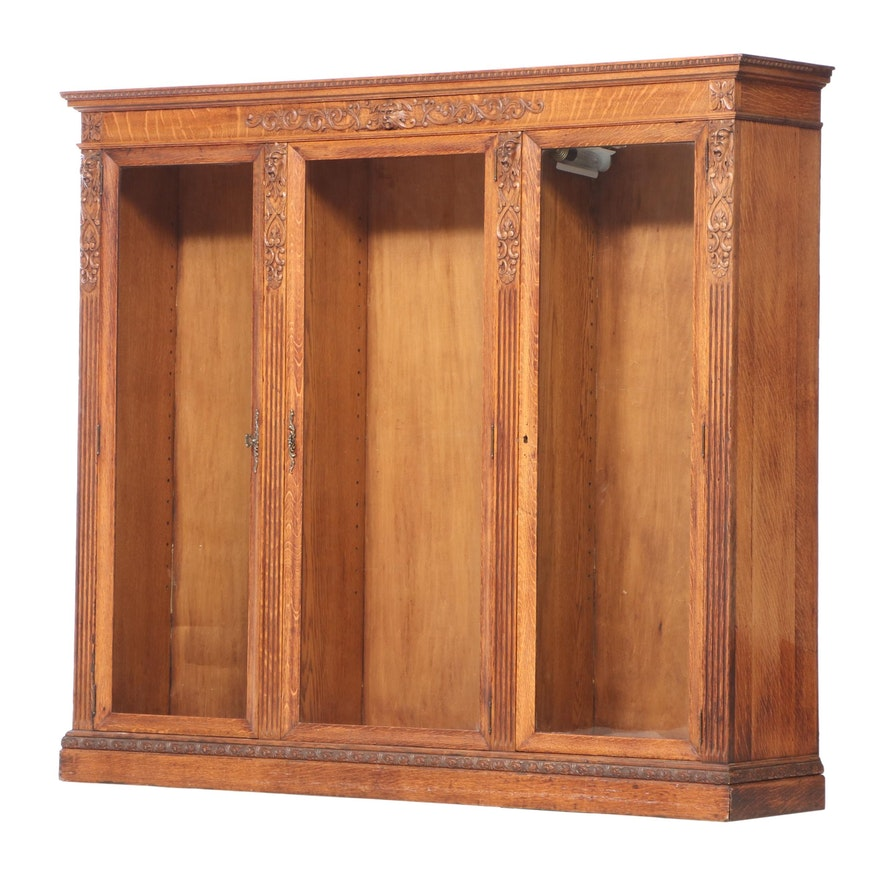 American Renaissance Revival Quartersawn Oak Triple-Door Bookcase, circa 1900