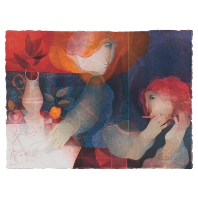 "Àlvar Suñol Lithograph ""Concierto de la Paloma,"" Late 20th Century"