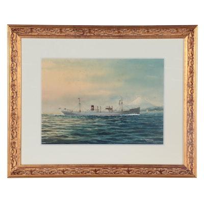 """H. Shimidzu Gouache Painting """"M.S. 'Bonneville,'"""" 1931"""