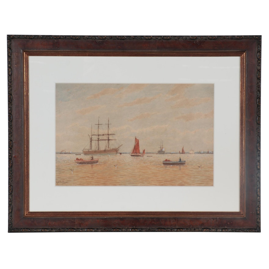 George Stanfield Walters Watercolor Painting of Ships at Harbor