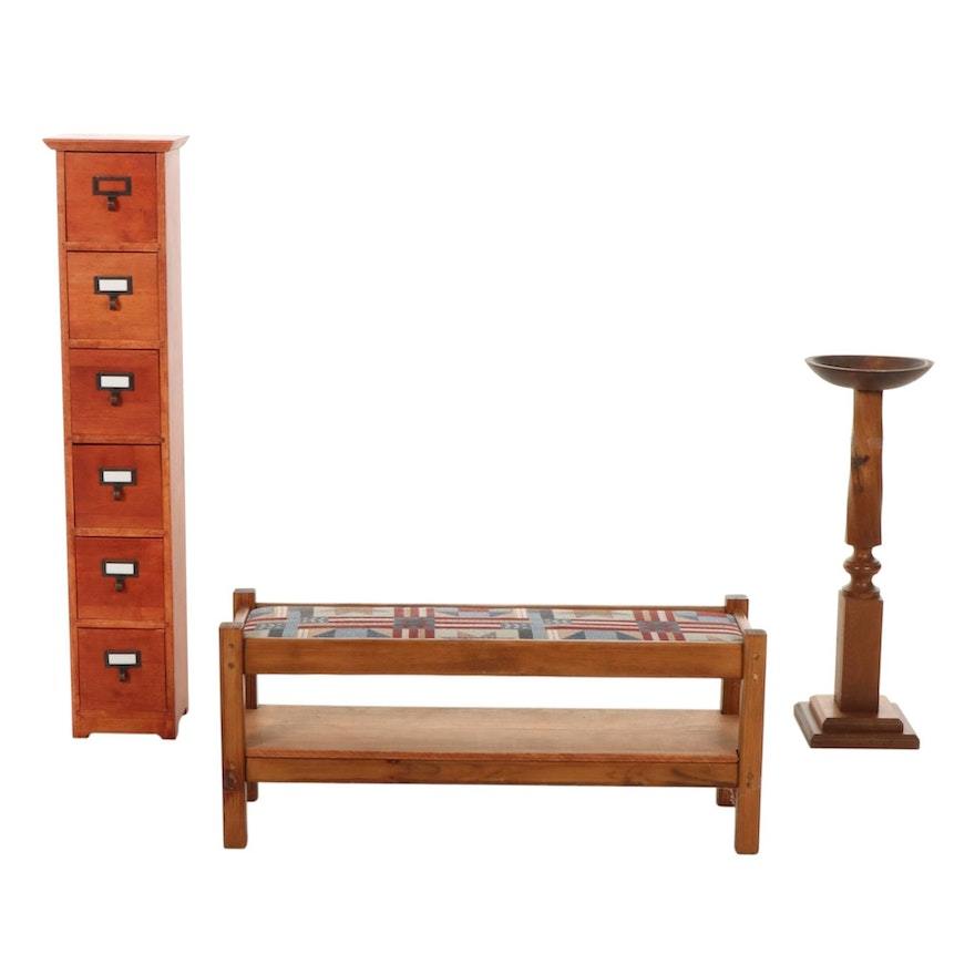 Pine Bench, Carved Plant Stand, and Six-Drawer Cabinet