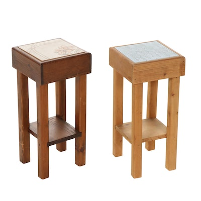 Two Mission Style Pine Tile-Top Plant Stands