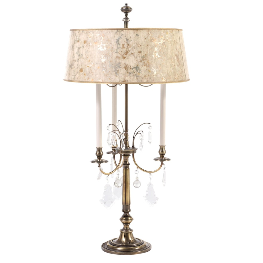 Stiffel Gilt Metal and Crystal Bouillotte Table Lamp, Late 20th Century