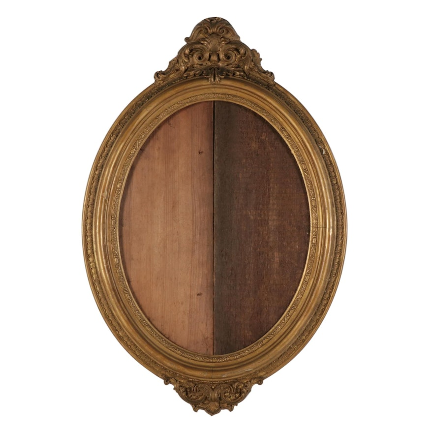 Rococo Style Giltwood and Gesso Oval Frame, Mid to Late 19th Century