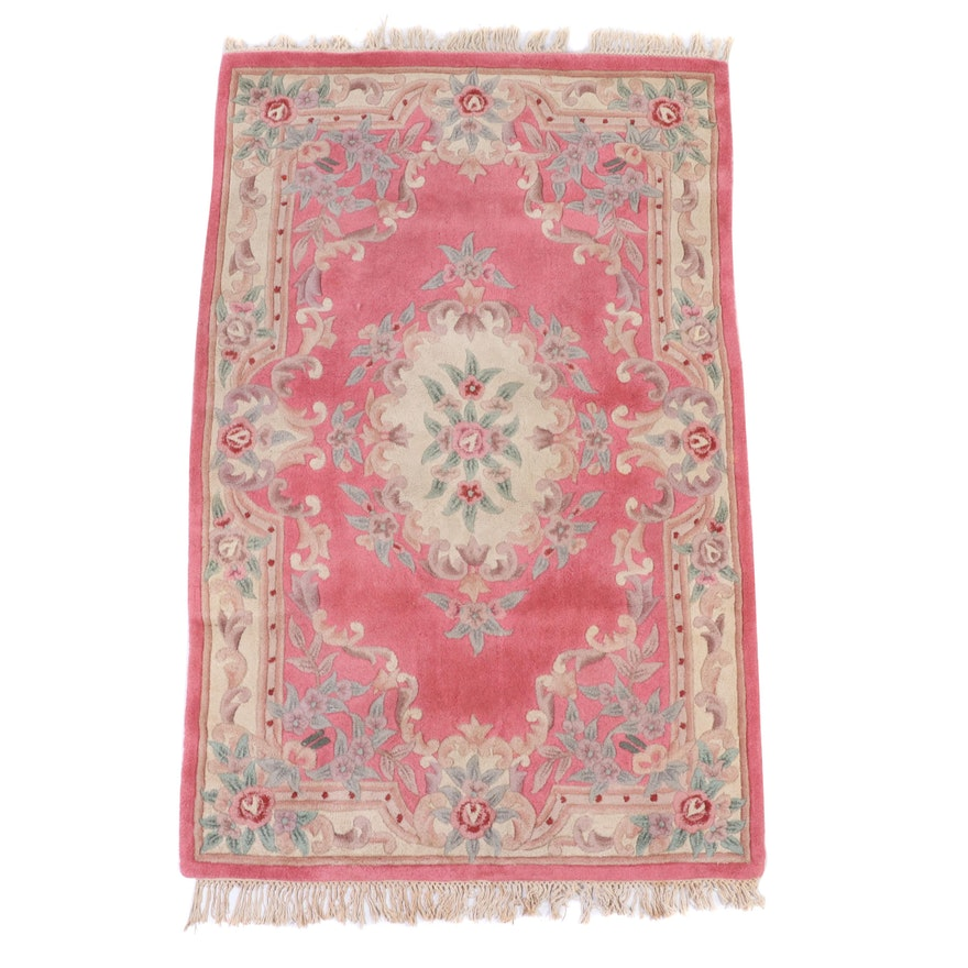 4'11 x 8'2 Hand-Tufted Chinese Carved Pile Floral Area Rug
