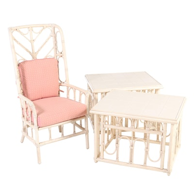 Ficks Reed Rattan Painted Faux Bamboo Patio Chair with Tile Top Tables