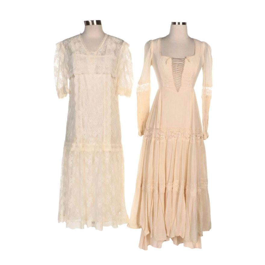 Gunne Sax Tiered Prairie Dress and Lace Drop-Waist Bib Dress