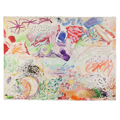 Philip the Transplant Mixed Media Painting of Surrealist Landscape, 1990