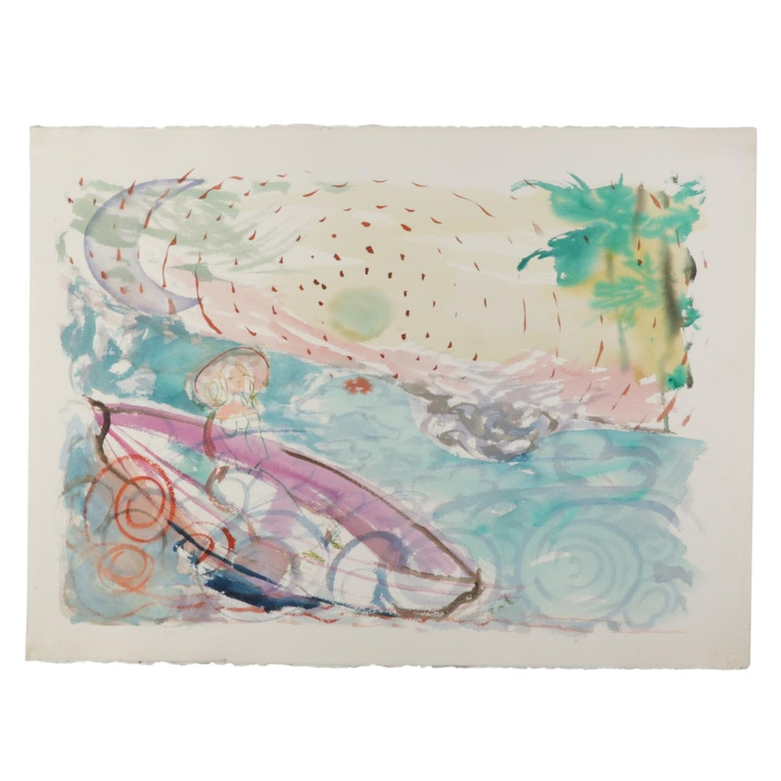Philip the Transplant Watercolor Painting of Woman in Canoe, 1990