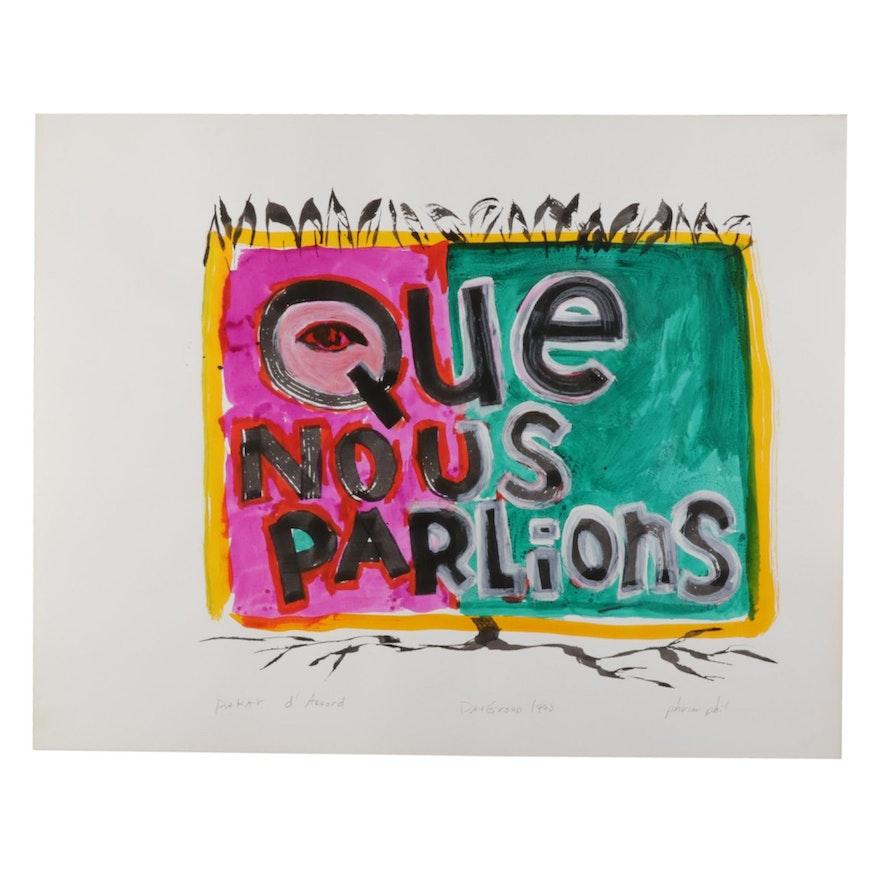 "Philip the Transplant Mixed Media Painting ""Dakar d'Accord,"" 1990"